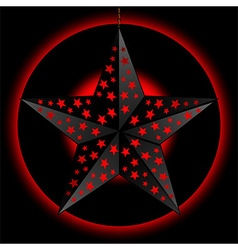 Black 3D star over red and black background vector