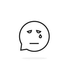 Black thin line sad emoji speech bubble logo on vector