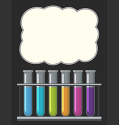 border template with testtubes filled with liquid vector image