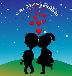 Boy and girl silhouettes kissing vector image