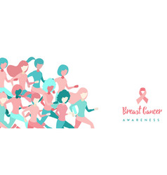 Breast cancer awareness girl group run concept vector