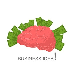 Business idea Human brain and money Cash and human vector image