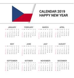 Calendar 2019 czech republic flag background vector