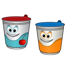 Cartoon cherry yoghurt vector