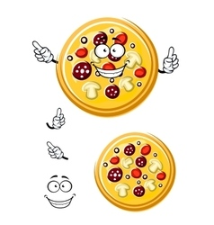 Cartoon italian pizza with ingredients vector image