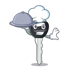 Chef with food mascot ilustration featuring on car vector