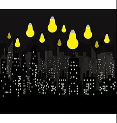 City illuminated light bulbs vector image