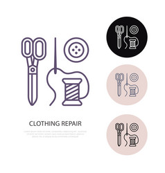 Clothing repair service line logo tailor store vector