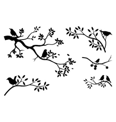 Collection of tree silhouette with bird vector