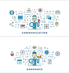Communication Announce Flat line icons and vector