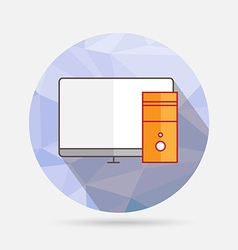 computer flat icon on geometric background vector image