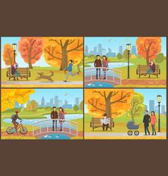 couple with perambulator walking in park vector image