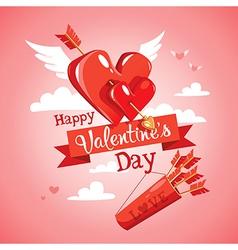 Cupids arrow Valentines Day card vector image