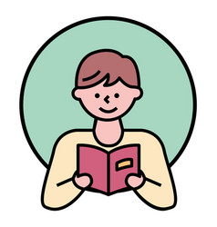 Cute boy reading book male character portrait vector