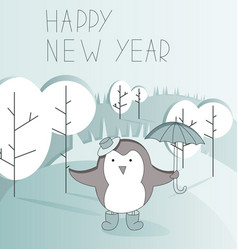 cute cartoon character on and awesome holiday card vector image