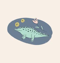 Cute crocodile alligator cartoon doodle australian vector