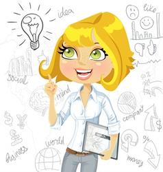 Cute girl with electronic tablet inspiration idea vector image