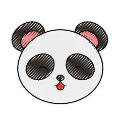 cute scribble panda bear face vector image
