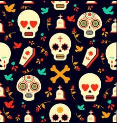 Day dead sugar skull icon seamless pattern vector