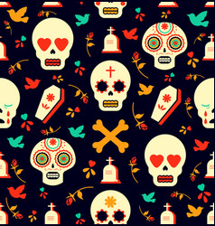 day of the dead sugar skull icon seamless pattern vector image