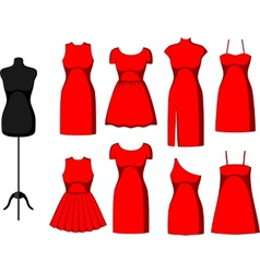 Different Cocktail and Evening Dresses vector image