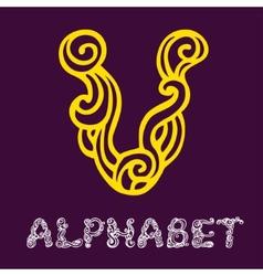Doodle hand drawn sketch alphabet Letter V vector