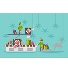 Elf factory or elves workshop toy production line vector