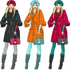 Fashion girls in a coat vector