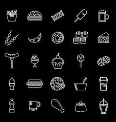 Fast food line icons on black background vector