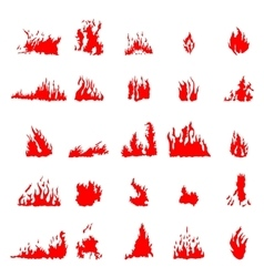 Fire silhouette set vector