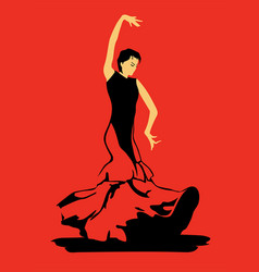 Flamenco dancer on red background vector