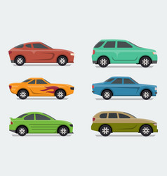 flat design style cars side view vector image