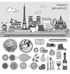 french breakfast flat line against background vector image