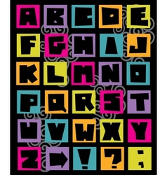 Funny alphabet letters in retro style vector image