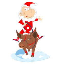 Funny santa claus rides on the pig vector