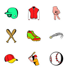 game stadium icons set cartoon style vector image