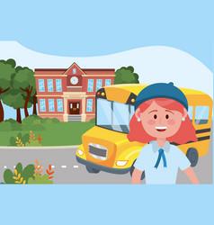 Girl kid and bus school design vector