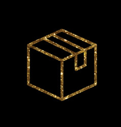 Golden glitter delivery shipping box line icon vector