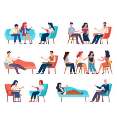 Group therapy men and women talking to vector
