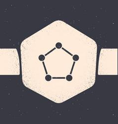 Grunge geometric figure pentagonal prism icon vector