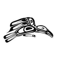 haida raven tattoo ornament in haida style vector image