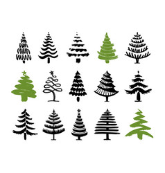 hand drawn christmas tree set vector image