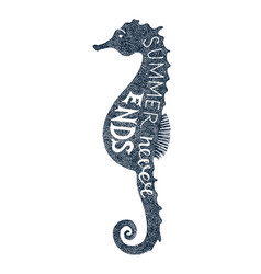 hand drawn lettering in sea horse silhouette vector image