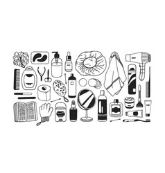 hand drawn set with beauty products black and vector image