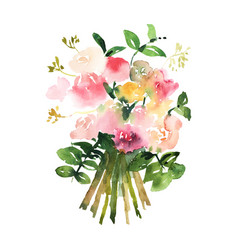 Hand drawn watercolor bouquet design for card vector