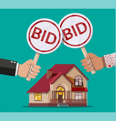 Hands holding auction paddle real estate house vector