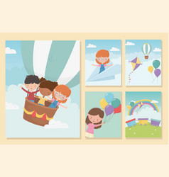 Happy childrens day girls and boys funny vector