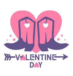 happy valentine day country farm with cowboy vector image