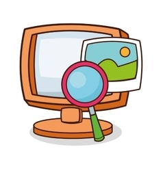 Isolated computer and lupe cartoon design vector