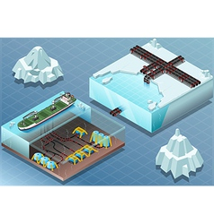 Isometric arctic subsea farm and tubes vector